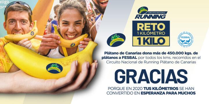 LOS CORREDORES DEL CIRCUITO NACIONAL DE RUNNING PLÁTANO DE CANARIAS DONAN MÁS DE 450.000 KGS DE PLÁTANOS DE CANARIAS EN 2020